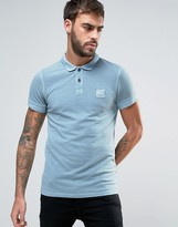 Boss Orange By Hugo Boss Slim Polo Washed Pique In Light Blue