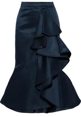 Johanna Ortiz Mary Queen Of Scots Ruffled Duchesse Silk-satin Midi Skirt