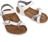 Birkenstock Girls Taormina Birko-Flor Regular Fit Sandals Soft Metallics Silver White