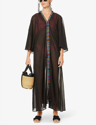 Pitusa Indian floral-embroidered cotton kimono