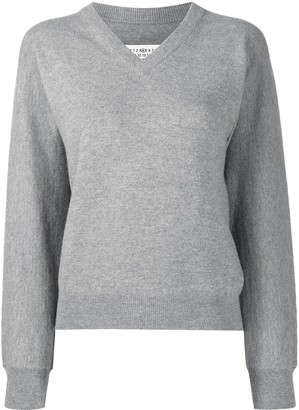 Maison Margiela Cashmere-Wool Mix V-Neck Jumper