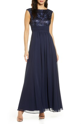 Eliza J Sequin Embroidered Chiffon Gown