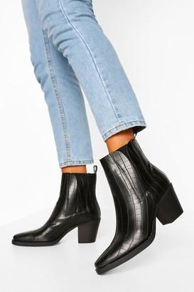 boohoo Croc Block Heel Chelsea Shoe Boots