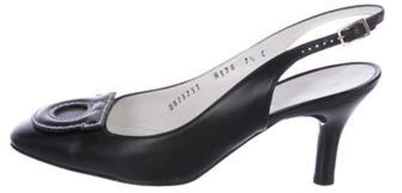 5b51d7feebc28 Leather Square-Toe Slingback Pumps Black Leather Square-Toe Slingback Pumps