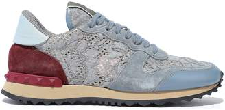 Valentino Garavani Rockrunner Corded Lace, Suede And Leather Sneakers