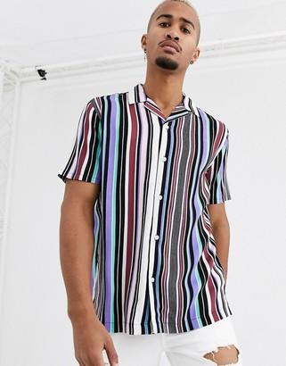 Topman revere collar multi stripe shirt in lilac