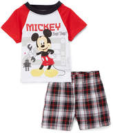 Children's Apparel Network Mickey Mouse Red Crewneck Tee & Black Plaid Shorts - Infant