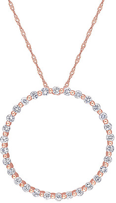Rina Limor Fine Jewelry 10K Rose Gold 1.50 Ct. Tw. White Sapphire Pendant Necklace