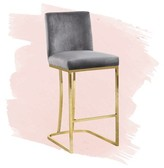 """Noah 26"""" Counter Stool Foundstone Upholstery: Gray, Color: Silver"""