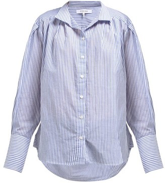 Frame Pleated Striped Cotton Shirt - Womens - Light Blue