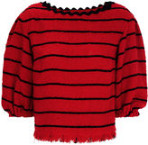 Sonia Rykiel Red Tweed Stripe Puff Sleeve Top