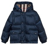Burberry Ink Blue Hooded Puffer Coat with Detachable Sleeves