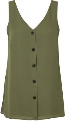 Wallis Khaki Button Through Camisole Top