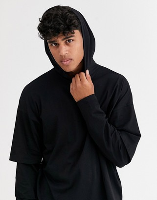 Asos Design DESIGN oversized lightweight hoodie with double layer sleeve in black