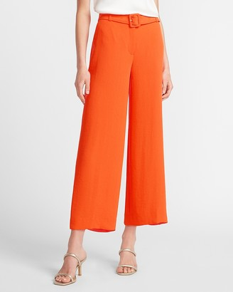 Express Super High Waisted Belted Cropped Wide Leg Pant