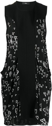 Diesel Heart Print Contrast Panel Dress