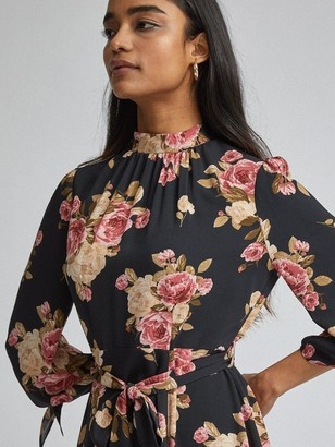 Dorothy Perkins Petite Floral Fit And Flare Dress - Black