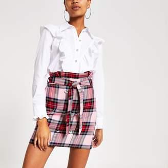 River Island Womens Pink check paperbag mini skirt