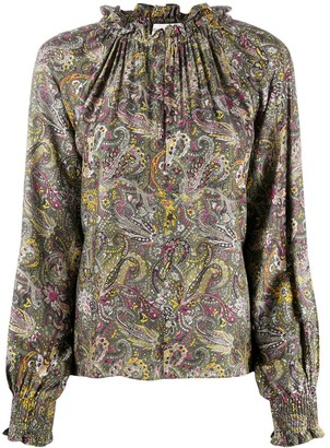 Officine Generale Ruched Neck Paisley Print Blouse