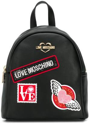 Love Moschino logo patch backpack