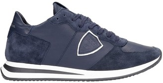 Philippe Model Trpx L Sneakers In Blue Suede And Leather