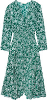 Maje Rayelle Shirred Floral-print Crepe Midi Dress - Dark green