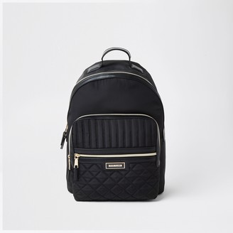 River Island Womens Black nylon RI backpack