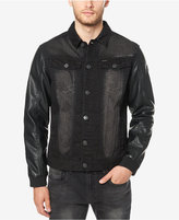 Buffalo David Bitton Men's Black Denim Jacket with Faux Leather Sleeves