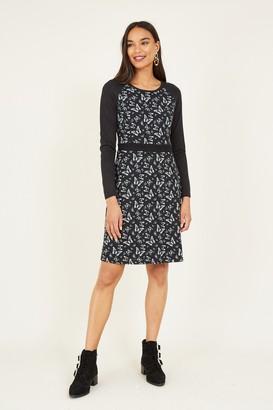 Yumi Black Butterfly Long Sleeve Dress
