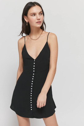 Urban Outfitters V-Neck Button-Front Slip Dress