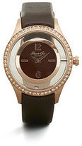 Kenneth Cole Transparent Rose Goldtone With Stone Bezel Watch