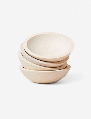 """Lulu & Georgia Farmhouse Pottery Crafted 7"""" Wooden Bowls, White (Set of 4)"""