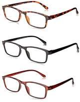 OPTX 20/20 Unisex-Adult Optx 20/20 Retro+175 (3 Pack) 3PK+175RET Rectangular Reading Glasses,1.75