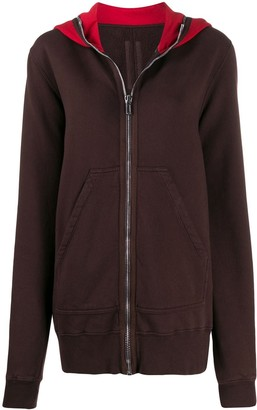 Rick Owens Contrast Panel Relaxed-Fit Hoodie