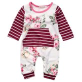 honeys Newborn Baby Girls Long Sleeve Striped Flower Print Romper Hoodie with Pocket (12-18months, )