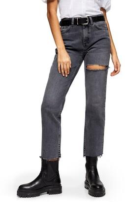 Topshop NY Thigh Rip Raw Hem Straight Leg Jeans