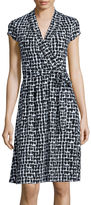 Liz Claiborne Cap-Sleeve Geo-Print Wrap Dress