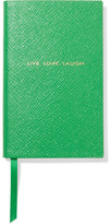 Smythson Panama Live Love Laugh Textured-leather Notebook - Green
