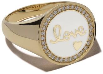 Sydney Evan 14kt yellow gold Love enamel diamond ring