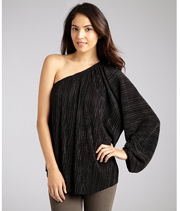 L'Agence black finely pleated one shoulder blouse