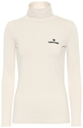 Balenciaga Logo stretch-cotton turtleneck top