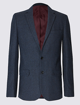 M&s Collection Wool Blend Single Breasted Jacket