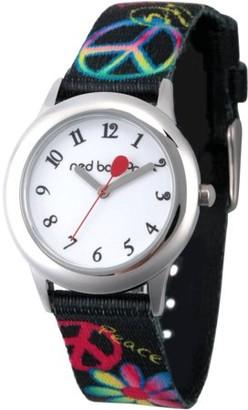 Red Balloon Girls' Stainless Steel Watch, Black Printed Elastic Nylon Strap