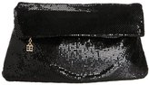 BCBGMAXAZRIA Metal Mesh Fold-Over Clutch,Black,one size