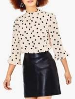 Oasis Spot Print Scallop Neck Blouse, Black/White