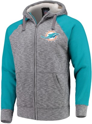 G Iii Men's G-III Sports by Carl Banks Heathered Gray/Aqua Miami Dolphins Turning Point Sherpa Lined Full-Zip Jacket