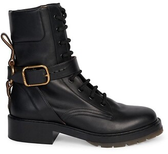 Chloé Diane Harness Lace-Up Leather Combat Boots