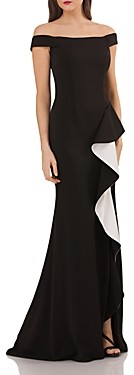Carmen Marc Valvo Off-the-Shoulder Gown