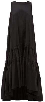 Romance Was Born Venus Tiered Taffeta Maxi Dress - Womens - Black