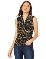 Nine West Women's Sleeveless Chain Printed Inverted V-Neck Knit TOP